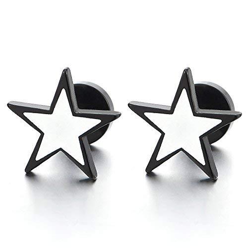 2 Piezas Negro Blanco Pentagrama Estrella Pendientes de Hombres Mujer, Acero Inoxidable, Cierre Tornillo