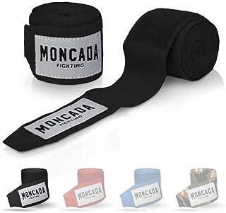 Moncada Fighting® [4 m bandaże bokserskie z otworem na kciuk – bandaże bokserskie półelastyczne z bardzo szerokim zapięcie...