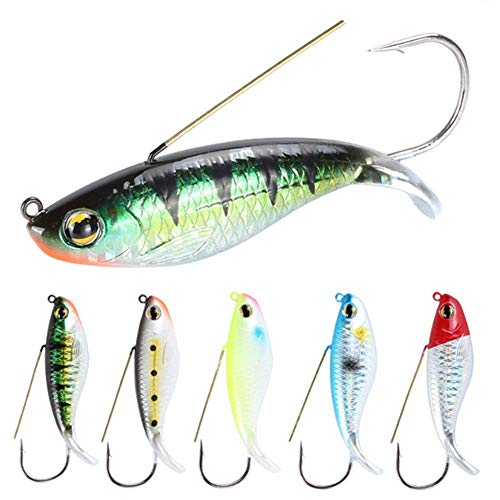 Nuguri 6Pcs Fishing Spoon Lures Weedless Minnow Spoon Hard Bait Fishing Bait Saltwater Freshwater Lures for Bass Trout Redfish Walleye Pike Musky (Multocolor)