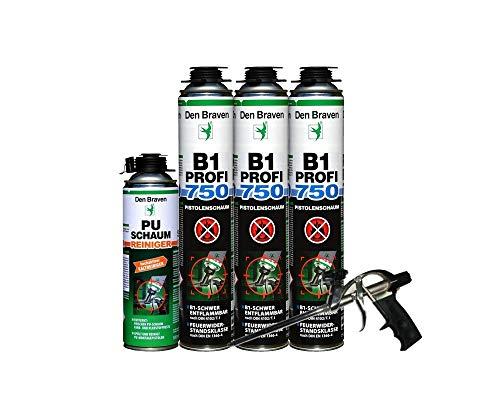Brandschutzschaum B1 Den Braven 750ml, schwer entflammbar, feuchtigkeitshärtend 3 Stück + Reiniger+ Schaumpistole hochwertigere Ausführung teflonbeschichtet