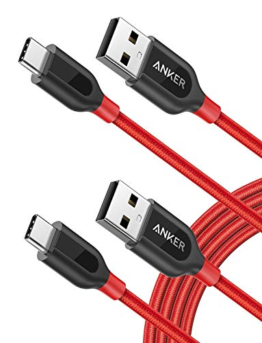Anker USB Type C Cable, [2-Pack 6ft] Powerline+ USB-C to USB-A, Double-Braided Nylon Fast Charging Cable, for Samsung Galaxy S10/ S9 / S9+ / S8 / S8+, MacBook and More(Red)