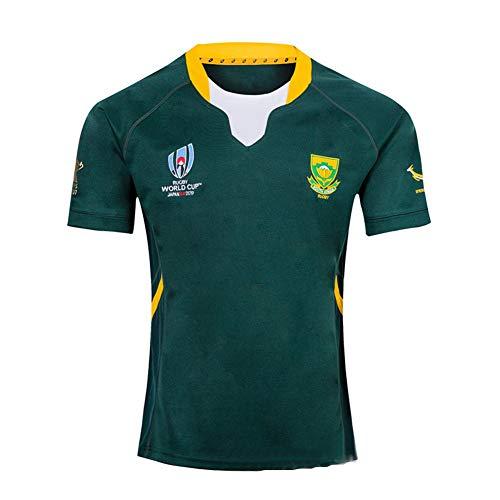 WYNBB 2019 Weltmeisterschaft Rugby Jersey Rugby-Trikot South Africa Home/Away für Männer Kurzarm-Freizeit-T-Shirt-Trainingsanzüge Südafrika zu Heim Auswärts,Green,L/175-180CM