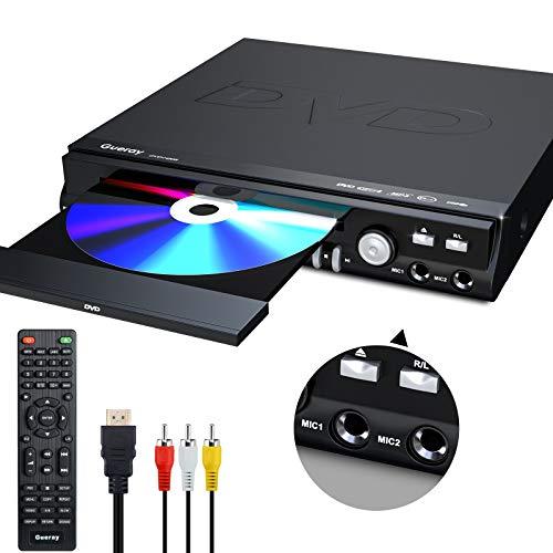 Gueray Lettore DVD Compatto per TV, Tutte Regione Libera Lettori DVD, HD 1080P e Riproduzione DVD-R / RW, CD-R / RW, Supporto Doppia porta Microfono, porta USB, Telecomando, Cavo HDMI e AV Incluso