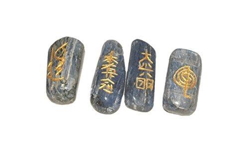 Blue Kyanite Tumbled Usui Sets Reiki Healing Chakra Balancing Meditation Gemstone Spiritual Energized Positive Mental Peace Prosperity Growth Bonding Relationship