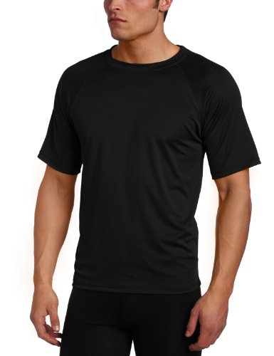 Kanu Surf Men's Short Sleeve UPF 50+ Swim Shirt (Regular & Extended Sizes), Black, X-Large