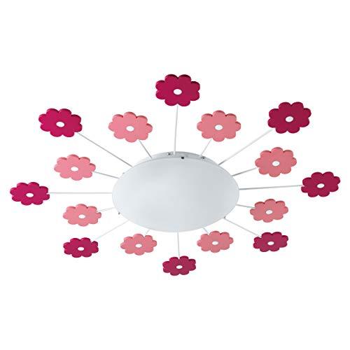EGLO Lampe de plafond VIKI 1, 1 lampe murale à flamme pour chambre d'enfant, plafonnier en acier, couleur : fuchsia, verre : satiné, blanc, douille : E27