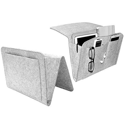 2 Stück Betttaschen Sofa Organizer Anti Rutsch Filzbetttasche Bettaufhänger Hängeaufbewahrung Nachttisch Tasche für Buch, Zeitschriften, iPad, Handy, Fernbedienung,Brille