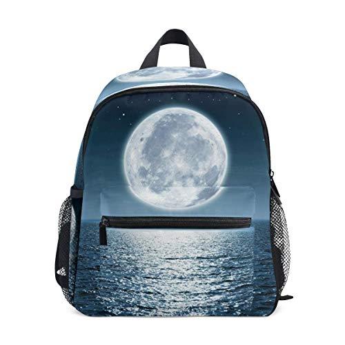 Mochila pequeña de la escuela del océano del mar de la luna de la mochila para muchacho niños mini viaje Daypack primario preescolar estudiante librero