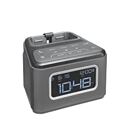 JAM ZZZ Wireless Alarm Clock, Play Music, Alarm Clock, Built-in Speakerphone, Snooze Buttons, 30ft Range, Charges Devices with USB Port, Gradual Wake, HXB510GY