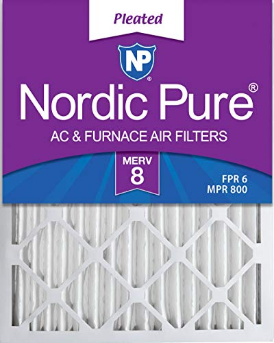 Nordic Pure 16x20x2 MERV 8 Pleated AC Furnace Air Filters 3 Pack