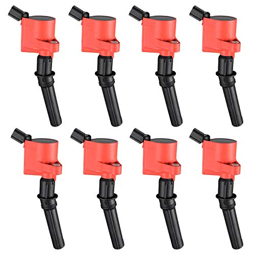 Ignition Coils 8-Pack Compatible with Ford Expedition Mustang Explorer Crown Victoria F150 F250 F350 F450 F550 Super Duty 4.6L 5.4L 6.0L 7.3L V8 Red