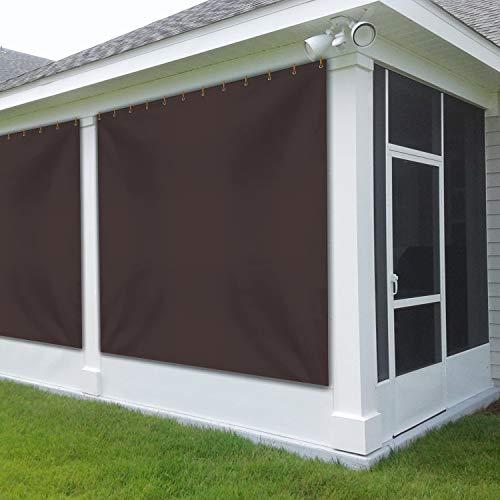 CoverS & ALL - Cortina de vinilo para muebles de patio (340 ml, resistente a la intemperie, para ventana de comedor, con ojales inoxidables, para pérgola, porche, cenadores (8 pies x 8 pies, café)