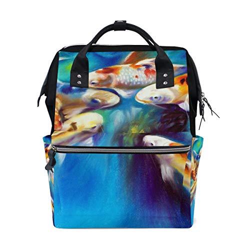 DEZIRO Canvas Koi Schilderij Daypack voor Vrouwen Rugzakken