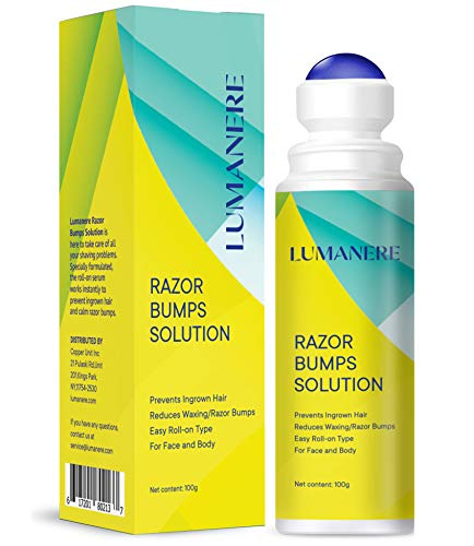 Lumanere Razor Bumps Solution ingrown hair treatment, Hair Inhibitor – After Shave Serum, Roll-on for Bikini Area, Legs and Underarm Area for Men and Women-100g