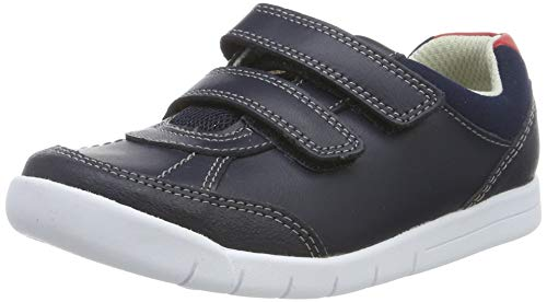 Clarks Jungen Emery Sky T Sneaker Niedrig, Blau (Navy Leather Navy Leather), 22 EU