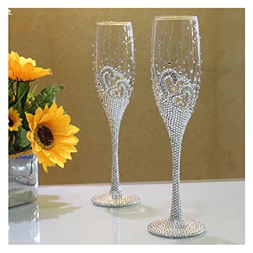 DEF Juego de 2 Copas románticas de champán con Diamantes de imitación, Elegantes Copas de Vino para Bodas 6 oz/180 ml, Mujeres (Color : White)
