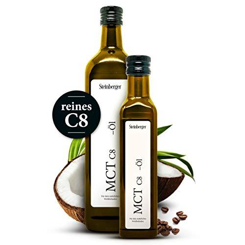 Premium C8 MCT Öl von Steinberger   vegane und natürliche Caprylsäure   99% reines C8   1x500 ml Glasflasche mit Dosierer