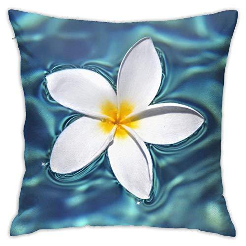 Fundas de almohada hawaianas con flores tropicales, color azul y blanco, 45,7 x 45,7 cm, para el hogar, cama, sofá y coche