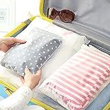 TSHAOUN 25 Piezas Bolsas de Almacenamiento de Viaje, Organizador de Viaje Transparente Esmeriladas Plástico con Cierre Ziplock Resellable para Almacenar Ropa, Zapatos, Toallas, Cosméticos (5 Tamaños)