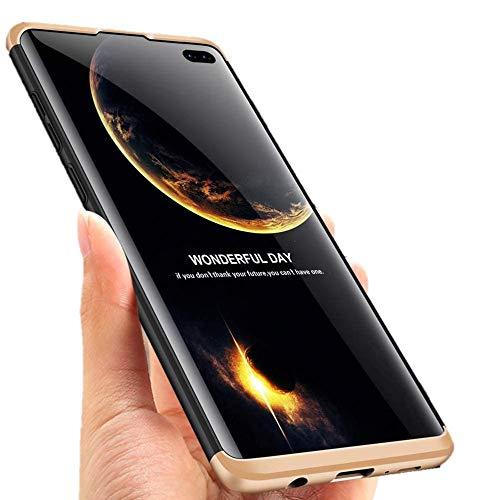 """Capa Capinha Anti Impacto 360 Para Samsung Galaxy S10 Lite com Tela de 6.7"""" Polegadas Case Acrílica Fosca Acabamento Slim Macio - Danet (Preto com Dourado)"""