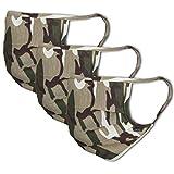 3er-Pack Mundschutz Maske 100% Baumwolle | waschbar bis 90°C, bügelbar, Oeko-TEX 100 Standard | Einheitsgröße für Erwachsene | Wiederverwendbare Behelfs-Maske, Mund und Naseschutz, Camouflage Khaki