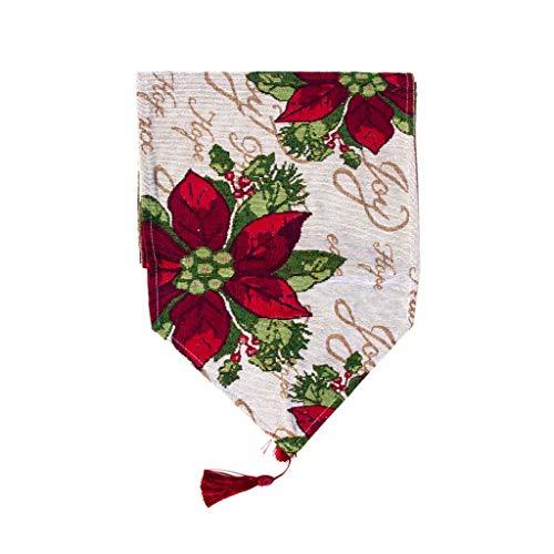 Hniunew Undurchsichtig Tischdecke Banner Form Tischfahne Weihnachten Blume Obst Drucken SchöN TischläUfer LäUfer Set Weihnachtsdecke 180 X34Cm Tischdeckenhalter HitzebestäNdig Waschbar