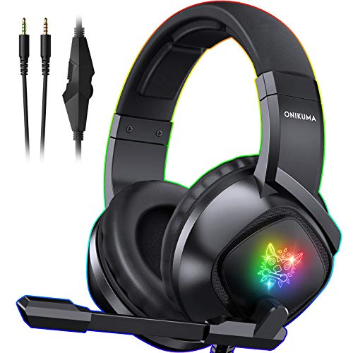 ONIKUMA K19 Gaming Headset -Xbox One Headset PS4 Headset with 7.1 Surround Sound Pro Noise Canceling Gaming Headphones with Mic & RGB LED Light Compatible with PS4, Xbox One,PC(Adapters Not Included)