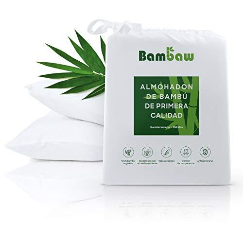 Bambaw Fundas de Almohada de Bambú | Tacto Suave y Fino | 2 x Funda Almohada | Fundas Almohada Antiácaros | Tejido Transpirable | Pillow Case | Blanco - 40x80 | Fundas de Cojín