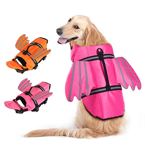 EMUST Dog Life Preserver, Dog Life Vests for Swimming, Beach Boating with High Buoyancy, Dog Flotation Vest for Small/Medium/Large Dogs, Pink, L