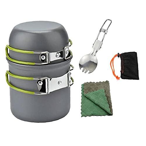 finebrand Juego De Utensilios para Acampar Que Va De Excursión con Mochila Pot Pan Kit De Vajilla Utensilios De Cocina Accesorios De Picnic