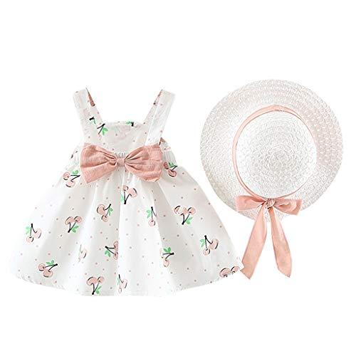 Sommerkleid Mädchen Kleinkind Baby Kinder Bow Princess Kleid Kleidung Set Ärmellose Cherry Dot Schöne Minikleid Bow Hat Outfits Set, Rosa, 3-6 Monate