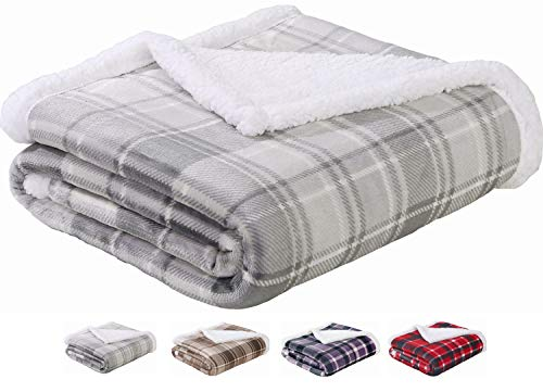 Sedona House Plush Flannel to Sherpa Throws Blankets for Couch Extra Thick Twin Size Gray Plaid Blanket 60x80in
