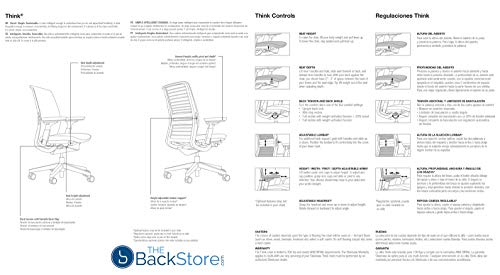 Steelcase Think Office Desk Chair with Lumbar Support - Black Frame Blue Jay 3D Knit Back and Fabric Seat - 4 Way Highly Adjustable Arms and Soft Hard Floor Casters