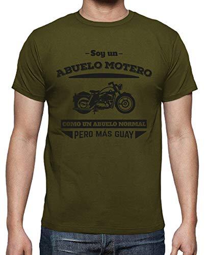 latostadora - Camiseta Abuelo Motero, para Hombre Army L