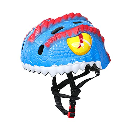 XKMY Casco de bicicleta para niños con diseño de dinosaurio 3D, varios deportes, ajustable, transpirable, color azul