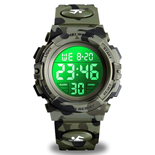 Watch for Boys 4-12 Year Old, Kids Camouflage Digital Sports Waterproof Outdoor Analog Electronic Watches with Alarm Stopwatch, Children Birthday Presents Gifts Toys for Age 4-12 Year Old Boys Girls