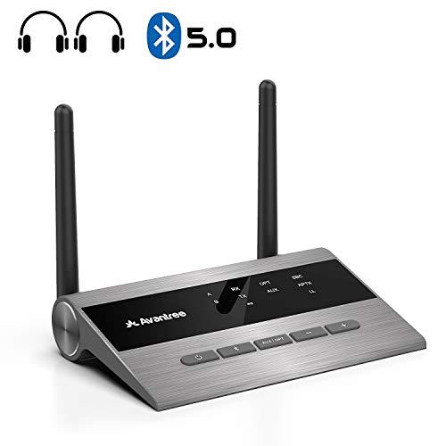[2020] Avantree Bluetooth 5.0 Transmitter Sender Empfänger mit Langer Reichweite für TV & PC Audio, Lautsprecheranlagen, aptX Low Latency kabelloser Adapter für 2 Kopfhörer, Optical AUX RCA - TC419