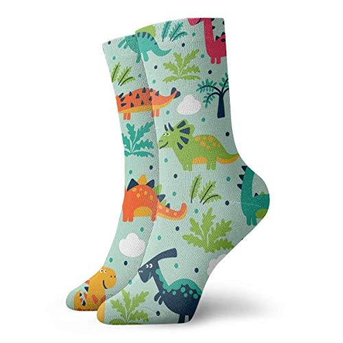 N\A Vector de patrones sin fisuras con divertidos dinosaurios, nubes y árboles, ideal para tarjetas, equipo, cojín, atlético, casual, correr, algodón, calcetines para hombres y mujeres