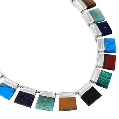 Calani Collar y Pendientes Artesanales de Plata 925 con incr
