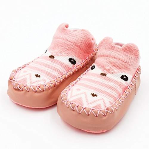 Calcetines de bebé con Suela de Goma Calcetín Infantil Recién Nacido Otoño Invierno Niños Calcetines de Piso Zapatos Antideslizante Calcetín de Suela Suave-a46-18M