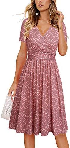 Lyrur Women s Summer Sundress Short Sleeve V Neck Knee Length Aline Swing Casual Party Dress product image