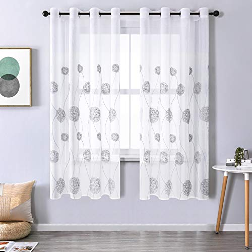CUTEWIND Living Room Embroidered Semi Sheer Curtains 72 Inches Long Floral Embroidery Nest Pattern Voile Curtain Sheers Panels Grommet Top Window Treatments (2 Panels, Grey, W54×L72 Inch)