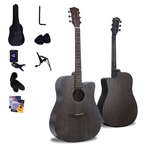 Boll-ATur 41-Zoll-Akustikgitarre - Massivholz-Akustikgitarre Cutaway Schwarz Anfänger Gitarre Anfänger-Set mit Tuner, Streicher, Picks, Strap