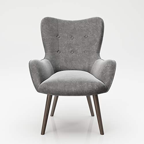 PLAYBOY Sessel mit Massivholzfüssen, Samt in Grau, Bestickung und Keder, Samtbezug, Retro-Design für Wohnzimmer, Schlafzimmer, Lounge oder Lesebereich, Ohrensessel