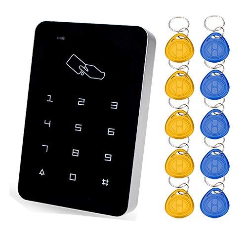 YAVIS 125 HZ RFID Zugangskontrolle, Codeschloss Türöffner Tastatureingerät, Einzeltüreingang, Touch-Panel, Standalone für Außen- und Innenbereich, für 1000 Benutzer + 10 Schlüsselanhänger