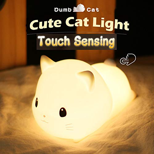 LED Kids Night Light, Cute Puppy/Cat/Elk Soft Silicone Baby Nursery Lamp-USB Rechargeable, Color Temperature and Brightness Adjustable, White and Warm can be Switched, Timing Function (Cat)