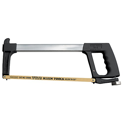 Klein Tools 701-S Dual Purpose Hacksaw 3-In-1 Blade With Pivot Lock for Blade Tension and Thumb Guard for Two Hand Sawing