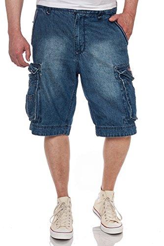 JET LAG Cargo Shorts Take off 8 Denim Navy Jeans Shorts, Größe:W40