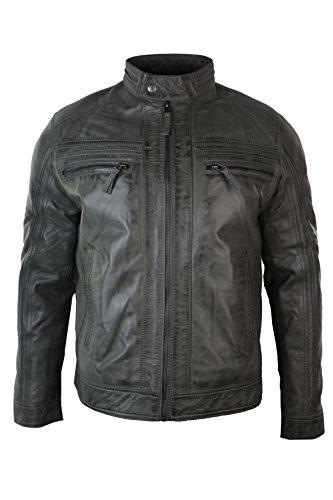 Veste Homme Style rétro Biker zippée Motard Cuir véritable Souple Gris Vintage Décontracté