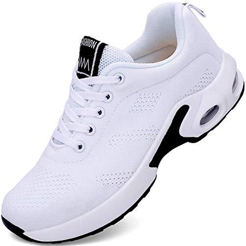 GURGER Donna Scarpe da Ginnastica Corsa Sportive Fitness Scarpe da Running Sneakers Bianco 41